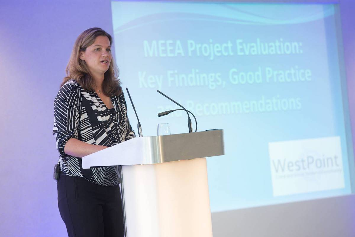 Jasmin Tregidga presenting to an academic audience